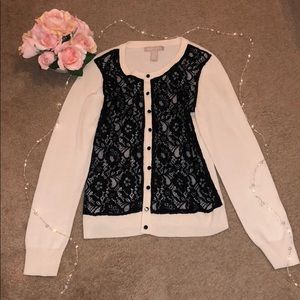 BANANA REPUBLIC: Cream lacy cardigan